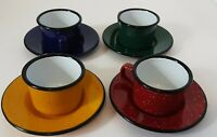 Colorful Speckled Enamelware Espresso/Cocoa Cup and Saucer sets 4