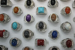 Fashion Jewelry Mix Lots 25pcs Resin Silver Plated Men's Colorful Top Rings