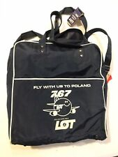 Vintage LOT Polish Airlines Dark Blue Canvas Bag/Tote With Shoulder Strap Rare