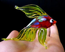 "MURANO ITALY STYLE 3.2"" green ART GLASS aquarium figurine GOLDFISH FISH ornament"