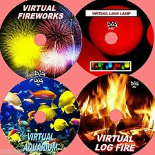 VIRTUAL AQUARIUM, LOG FIRE, FIREWORKS, & LAVA LAMP, 4 GREAT RELAXING DVDs NEW