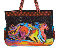 Laurel Burch Colorful Horses Lg OVERSIZED Tote Bag Caballos Colores New RETIRED