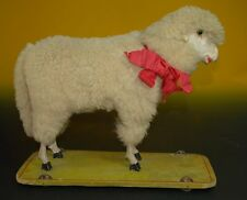 antique big wool sheep with voice & glass eyes pulling toy Papier-Mache at 1900
