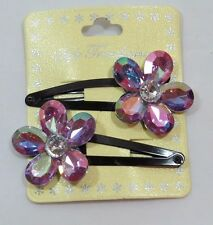Jumbo Sparkle Gem Flower Fashion Hair clip set 2Pcs Purple Lavender