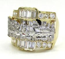 8 Grams 2CT 10k Yellow Real Gold Mens Last Supper Jesus Gemstone Hip Hop Ring