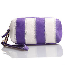 Purple & White Italian Leather Wristlet / Wallet