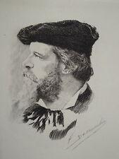 Gravure Eau Forte Portrait LOUIS GALLET OPERA MUSIQUE CLASSIQUE VALENCE DROME