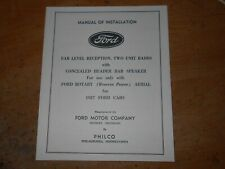 1937 FORD PASSENGER CAR RADIO OWNERS MANUAL AND INSTALLATION MANUAL