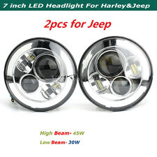 2x 7'' LED 4D Round Hi/Lo Projector Headlight Chrome For Jeep Wrangler 97-17