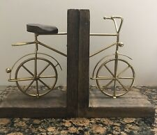 Vintage Brass and Wood Bicycle Book Ends Bookend