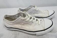 Converse Una Estrella BAJA altura Lona Con Cordones Zapatillas blancas UK 4 /