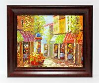 Paris Bistro Cafe Scene 16 x 20 Art Oil Painting on Canvas w/ Custom Frame