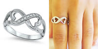 Sterling Silver 925 INFINITY HEART LOVE DESIGN CZ PROMISE RING 8MM SIZES 5-10