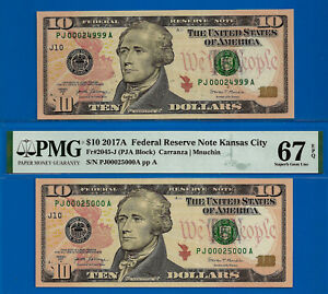2017-A - $10 FRN (( Rollover Pair )) PMG 67EPQ & Ungraded # 00024999 to 00025000