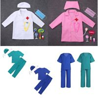 Kids Girls Boys Childrens Doctors Coat Fancy Dress Costume Outfit Stethoscope