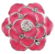 Pink Enamel Silver Rhinestone 20mm  Snap Charm For Ginger Snaps Magnolia Vine