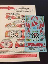 DECALS 1/43 FORD ESCORT CAMANDONA RALLYE MONTE CARLO 1995 RALLY WRC