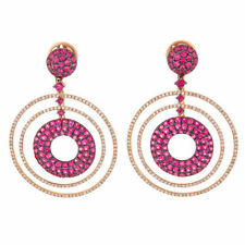 Sapphire Round Rose Gold Fine Earrings