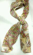 Women's Isabella Scarf Floral Paisley Pink Green Beige 100% Polyester Sheer Long