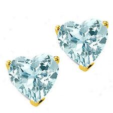0.50 - 3.00 CT 14K SOLID YELLOW GOLD HEART AQUAMARINE SCREW BACK STUD EARRINGS