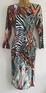 RIVER ISLAND MULTICOLOURED ZEBRA STRETCHY TWISTED DRESS SIZE 14