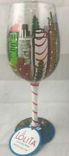 "Lolita ""Metro-Pole-itan"" 15oz Hand Painted Christmas Love My Wine Glass NEW"