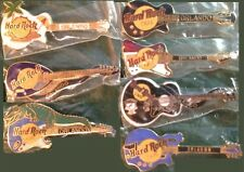 Hard Rock Cafe ORLANDO 1990s 7 Guitar PIN LOT Collection GCI Clasp Back MINT NEW