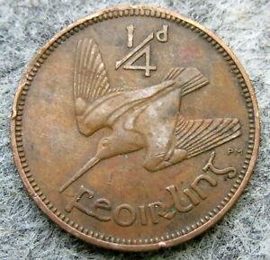 IRELAND 1941 FEOIRLING - 1/4 PENNY - FARTHING, WOODCOCK BIRD, slightly bent