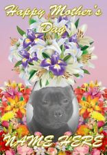 Staffordshire Bull Terrier Dog Mother's Day Personalised Greeting Card Mum FV230
