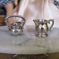 Vtg Dollhouse STERLING SILVER TEA SET Miniature Dishes Sugar Bowl Creamer Solid