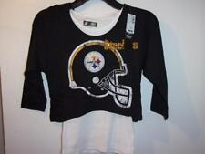 Too Cute! Pittsburgh Steelers Girls Hooded Crop Over Tee Size 8/10 ___S61