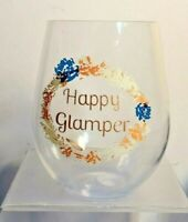 COLLECTIBLE HAPPY GLAMPER PLASTIC STEMLESS WINE GLASS THE UNENTHUSIASTIC CAMPER