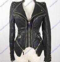 Ladies Punk Spike Studded Shoulder PU Leather Jacket Zipper coat Size S-3XL 455