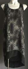 NWOT DECJUBA Grey & Black Animal Print Sleeveless Dip Hem Dress Size 8