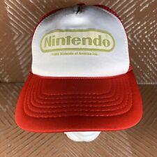 Vintage 1989 NINTENDO Red & White MESH TRUCKER SNAPBACK HAT Youth Size
