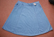 NEW! Sz 14 Light Blue Denim Fit and Flare Skirt With pockets Flattering Gift