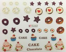 Nail Art 3D Decal Stickers Chocolate Cake Doughnuts Cookies Sweets Cupcake E262