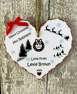 Personalised TEACHER Christmas Gift Plaque Wall/Tree Decoration Handmade Xmas 12