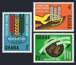 Ghana 132-134,hinged.Michel 138-140. FAO 1963.Freedom from Hunger campaign.