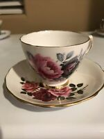 COLCLOUGH CUP & SAUCER BONE CHINA ENGLAND VINTAGE PINK RED ROSES GOLD TRIM