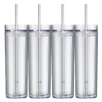 Set of 4 Tall Skinny Acrylic Tumbler Double Wall 16 Oz (Clear Color)