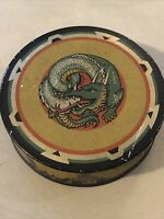 VINTAGE COLUMBIA TYPEWRITER RIBBON TIN - ROYAL SILK GAUZE W/ DRAGON BUTTERFLIES