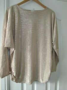 Ladies gold evening top with  long sleeve Size L (12 - 14+)