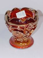 Imperial Carnival Glass Toothpick Holder - Marigold/Amber Colored
