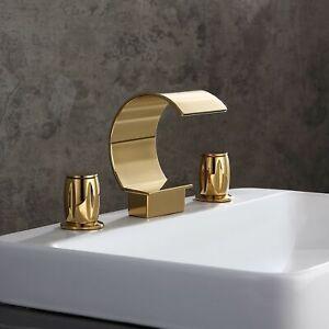 Modern Waterfall Widespread 2-Handle Bathroom Mixer Tap Gold Brass Basin Filler