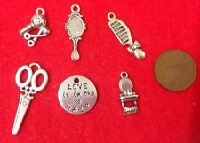 Set of 6 LOVE IS IN THE HAIR Hairdresser Beauty Stylist Charm Pendants (B1)