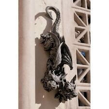 """24"""" Gothic Duo Headed Hanging Gargoyle Wall Sculpt Medieval Statue by Gary Chang"""