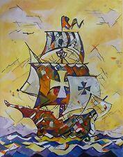 """Akimova: SAIL BOAT,seascape, acrylic, 9""""x12"""", sea"""
