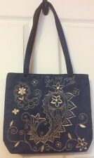 Zazou Sac Denim Tote Embroidered Handbag Paisley Floral