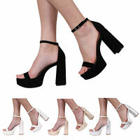 WOMENS LADIES ANKLE STRAP PEEP TOE BLOCK HIGH HEEL SANDALS SHOES SIZE SIZE 3-8